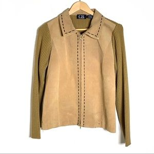 CB Casual tan leather southwest sweater jacket